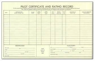 Pilot Certificate and Rating Record Pages